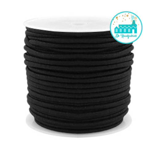 Koord Elastiek Zwart  1 meter 2,5 mm breed