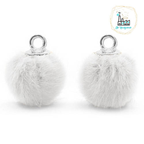 Pompom bedels met oog faux fur 12mm White-silver