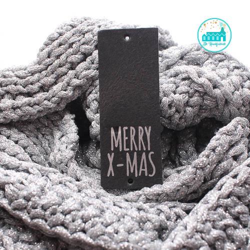 Big Labels  8 cm x 3 cm Antraciet Merry X-Mas zilver