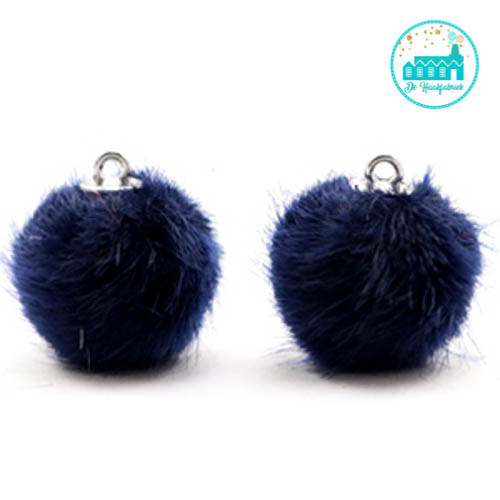 Mini Pompons Faux Fur 16 mm Donker Blauw