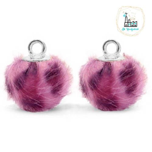 Pompom bedels met oog faux fur leopard 12mm Purple pink-silver