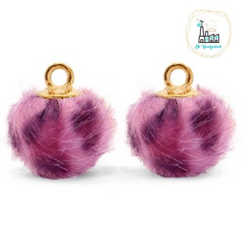 Pompom bedels met oog faux fur leopard 12mm Purple pink-gold