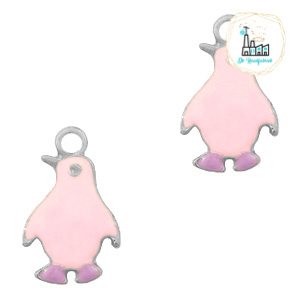 bedels pinguïn Zilver-Pink purple 23 x 14 MM