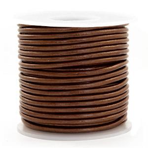 Leren Koord Rond 3 mm  Pecan brown metallic