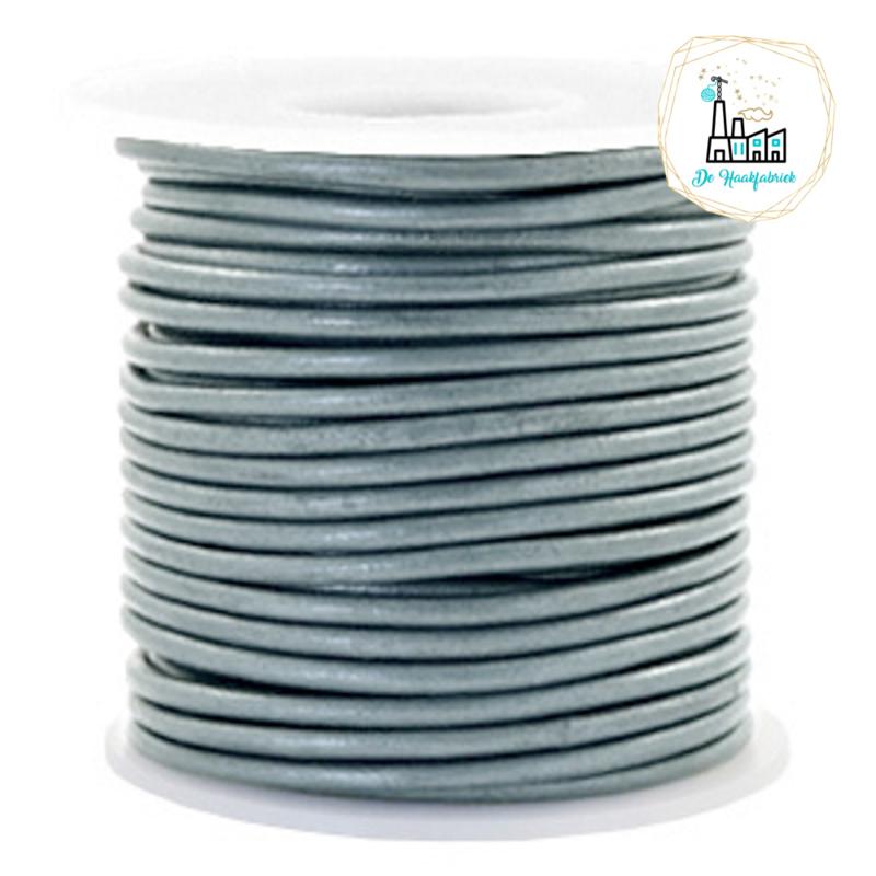 Leren Koord Rond 3 mm Grey Metallic