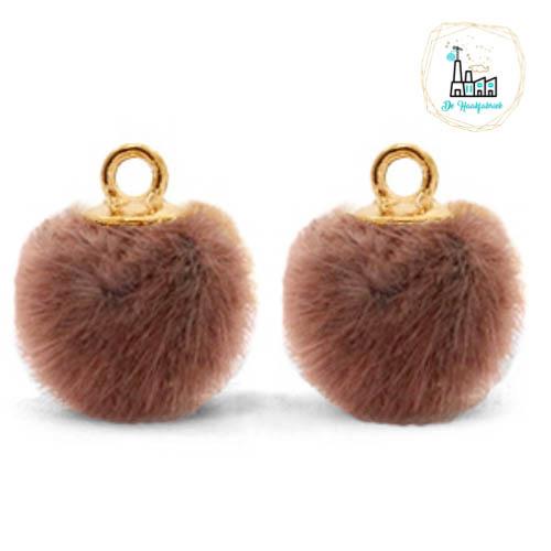Pompom bedels met oog faux fur 12mm Red brown-gold