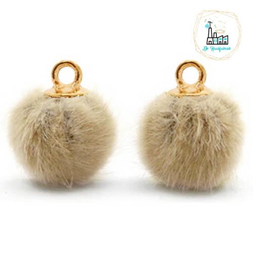 Pompom bedels met oog faux fur 12mm Taupe brown-gold