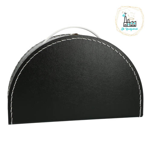 Kinderkoffertje Half Rond Zwart 28 cm