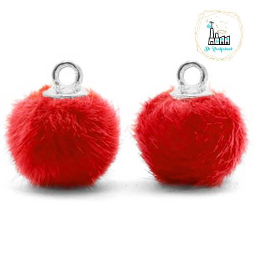 Pompom bedels met oog faux fur 12mm Siam red-silver
