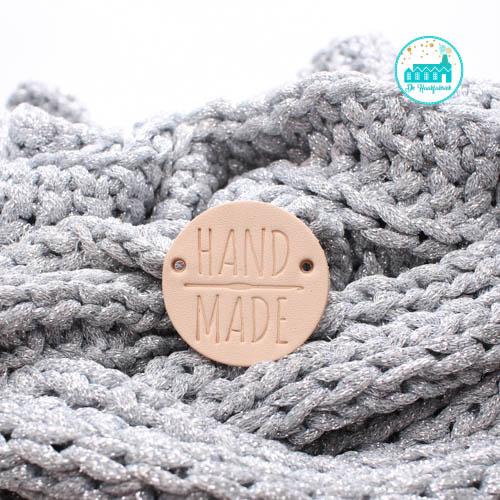 Ronde Leren label 3,5 cm Handmade met Haaknaald groot