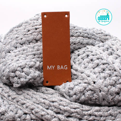 My Bag Rechthoek Cognac Label 8 cm  x 3 cm