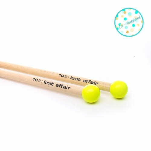 Knit Affair Basic Breinaalden Neon Yellow 10 mm lengte 35 cm