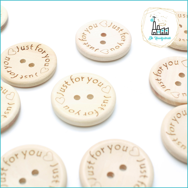 Wooden Buttons 30 mm 'Just For You'