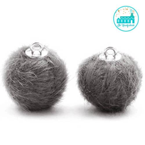 Mini Pompons Faux Fur 16 mm Dark Grey