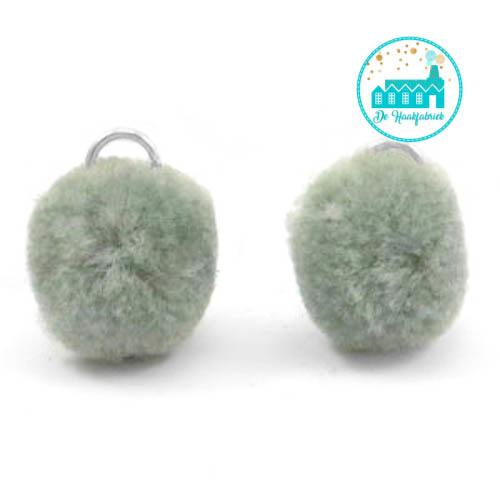 Mini Pompons 15 mm Groen Grijs