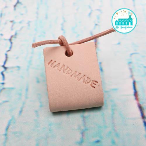 Big Labels 8 cm x 3 cm met Leren Veter Handmade