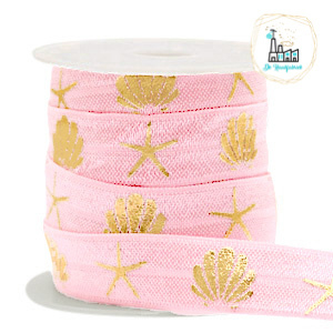 Elastisch lint shell/sea star Vintage pink-gold
