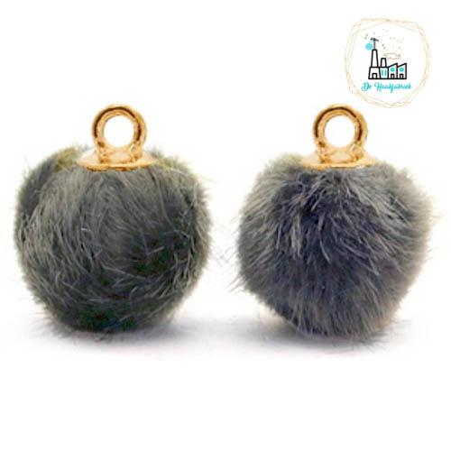 Pompom bedels met oog faux fur 12mm Dark grey-gold