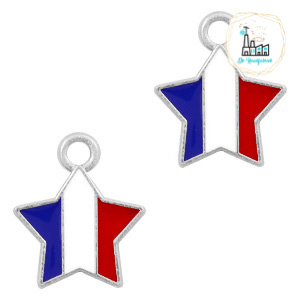 bedels ster Zilver-Red white blue 14 x12  MM