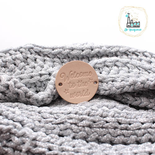 Rond leren label 3,5 cm Welcome to the world