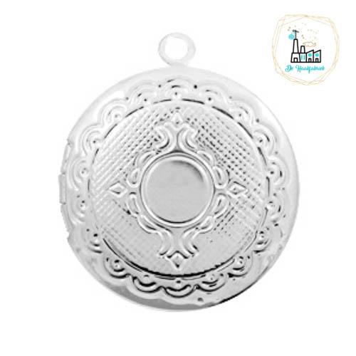 Metalen bedel medaillon rond Zilverkleurig ca. 22x20mm
