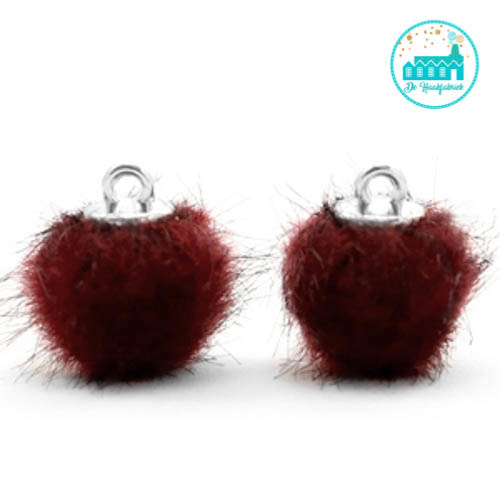 Mini Pompons Faux Fur 12 mm Port Red