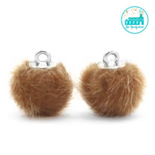 Mini Pompons Faux Fur 12 mm Goud Bruin
