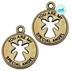 Bronze Metal Label 'You Are My Special Angel' 21 mm x18 mm