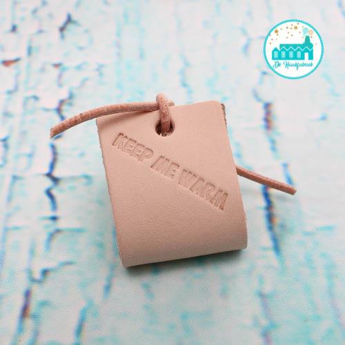 Big Labels 8 cm x 3 cm met Leren Veter Keep Me Warm