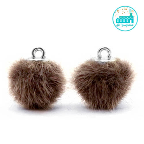 Mini Pompons Faux Fur 12 mm Bruin