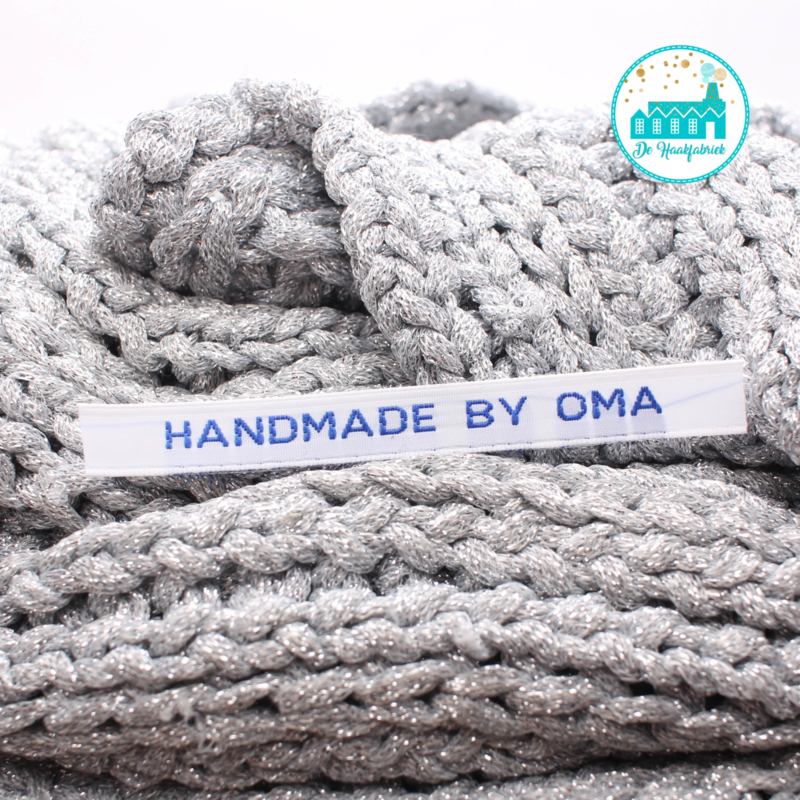 Ironing Label 'Handmade by Oma' white with blue