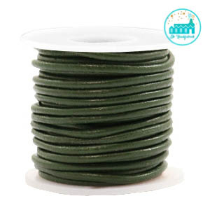 Round Leather String 2 mm Olive