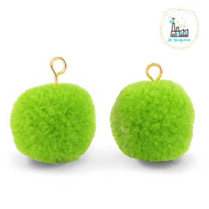 POMPOM BEDELS MET OOG 15MM DARK LIME GREEN-GOLD