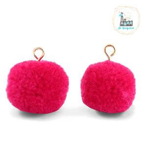 Pompom bedels met oog 15mm Cherish pink-gold