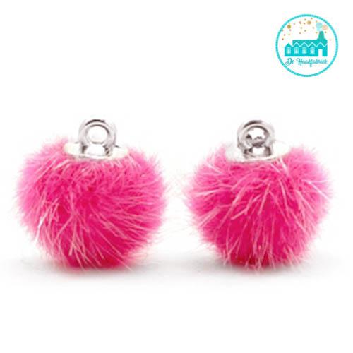 Mini Pompons Faux Fur 12 mm Magenta Pink