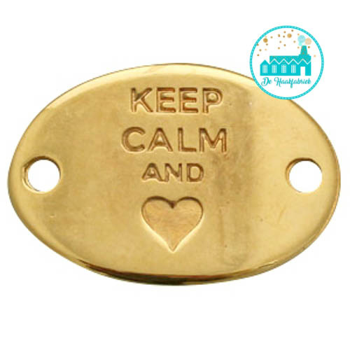 Gold Metal Label 'Keep Calm and heart' 29 mm x 20 mm