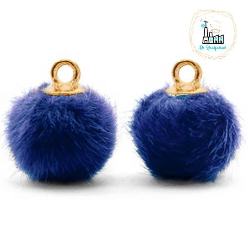 Pompom bedels met oog faux fur 12mm Denim blue-gold