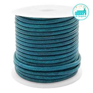 Leren Koord rond 2 mm Dark Turquoise
