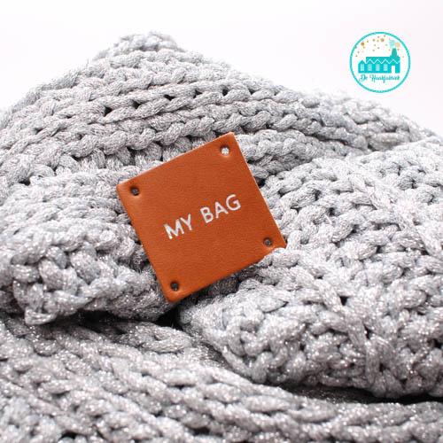 Square Leather Label Cognac 3,5 cm x 3,5 cm 'My Bag'