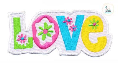 Applicatie Love 11 x 5 cm Wit