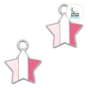 bedels ster Zilver-Fuchsia white pink 14 x12  MM