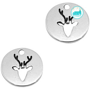 Metal Label 18 mm Silver with Deer