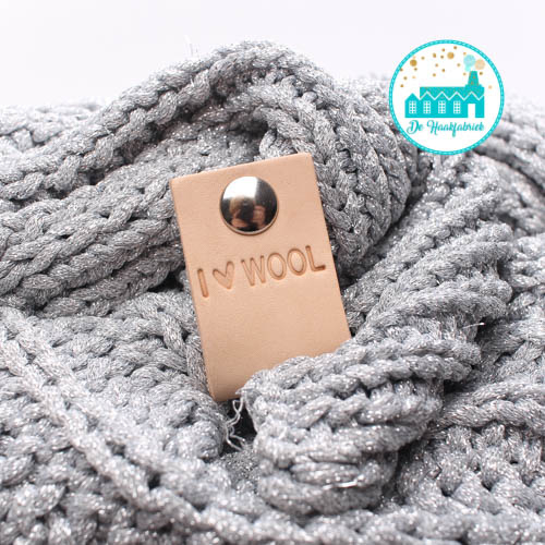 Big Labels with Push-Button Naturel 10 cm x 3 cm 'I Love Wool'