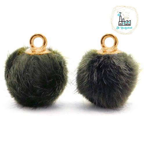 Pompom bedels met oog faux fur 12mm Olive grey-gold