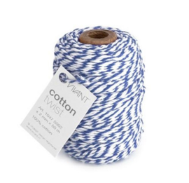 Koord Cotton Twist Koningsblauw Wit