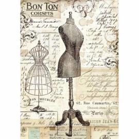 Vintage Mannequin - Rijstpapier A4