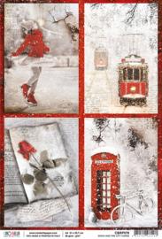 Snow and City Cards - Rijstpapier A4