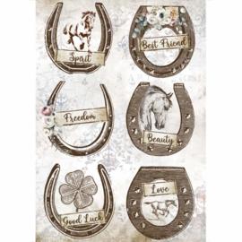 Romantic Horses Horseshoes - Rijstpapier A4