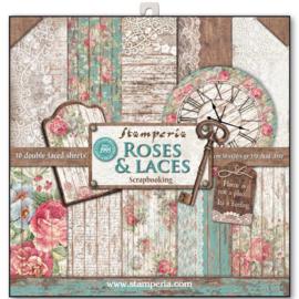 "Roses & Laces - 12x12"""
