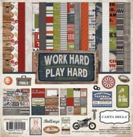 "Work Hard Play Hard - 12x12"""